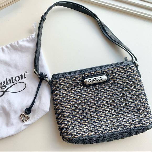 Brighton Bag with Navy Leather & woven raffia body
